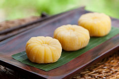 Mochi japanese dessert with mango Outdoor garden background Stock Image