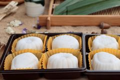 Mochi japanese dessert patties soybeans of delicious. Stock Image