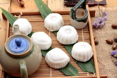 Mochi japanese dessert patties soybeans of delicious. Royalty Free Stock Photos