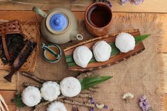 Mochi japanese dessert patties soybeans of delicious. Stock Photography