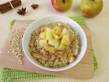 Mochi milk rice pudding with stewed apples Stock Image