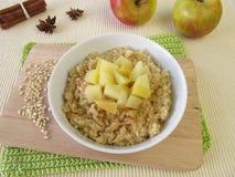 Mochi mjölkar risgrynsgröt med kokta äpplen Fotografering för Bildbyråer
