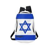 Mochila de la bandera de Israel aislada en blanco Imagen de archivo