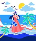 Mochila de la tenencia de la muchacha en la playa ilustración del vector