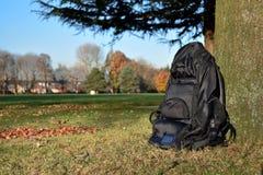 Mochila no parque sob uma árvore Fotografia de Stock Royalty Free