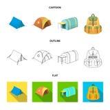 Mochila y otras clases de tiendas Iconos determinados de la colección de la tienda en la historieta, esquema, acción plana del sí Imágenes de archivo libres de regalías