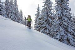 Mochileiro que levanta em montanhas do inverno Fotos de Stock Royalty Free