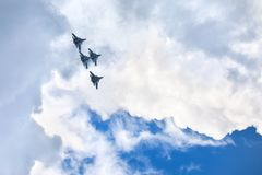 Mochishche airfield, local air show, Aerobatic team VKS `Russian Falcons` Su-30 SM, four russian fighter aircrafts in the sky. Novosibirsk, Russia, July 31, 2016 stock images