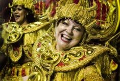 Mocidade Alegre - bailarín São Pablo, el Brasil 2015 de Carnaval Foto de archivo