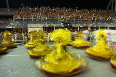 Mocidade Alegre - Carnaval-Danser São Paulo, Brazilië 2015 Stock Fotografie