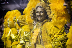 Mocidade Alegre - danzatore São Paulo, Brasile 2015 di Carnaval Fotografia Stock Libera da Diritti