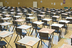 Mock exam papers time. Exam papers out ready to do mock test in sports hall royalty free stock photography