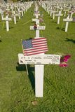Mock grave markers of US soldiers who died in Iraq war at Arlington West, Santa Barbara, CA Royalty Free Stock Photos