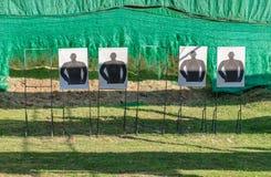 Mock human target in shooting gallery. Mock human aim target in shooting gallery Royalty Free Stock Images