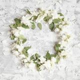 Mock orange wreath. Branches with flowers on shabby background. royalty free stock photos