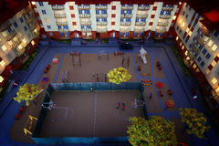 Mock town house miniature people Stock Images