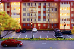 Mock town house miniature people Stock Photos