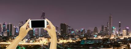Mock up for advertising with Bangkok building at night time. Concept technology for travel royalty free stock images