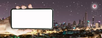 Mock up for advertising with Bangkok building at night time. Concept about technology in night life stock photo