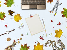 Mock up autumn composition. Autumn composition with laptop, dry flowers, autumn leaves, colour pencils, brush, clips,  watch, toy bear, wooden beads and tablet Stock Photos