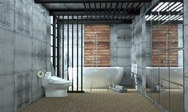 Bathroom interior bathtub in ceramic tile floor on granite tiles wall background - empty white concept. 3d rendering,mock up. Mock up Bathroom interior bathtub vector illustration