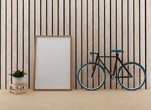 Mock up with bike in the wood room in 3D rendering Stock Image