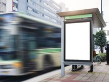 Mock up Billboard Banner template at Bus Shelter Media outdoor. Mock up Billboard Light box at Bus Shelter outdoor street Sign display stock images