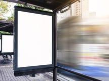 Mock up Billboard Media Banner Light box at Bus Station Stock Photo