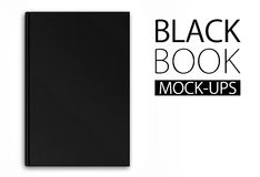 Mock-up of a black book on white background Stock Image