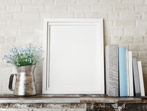 Mock up black frame on wooden  table, Stock Photos