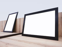 Mock up Black Frame on Wooden table Home decoration. Mock up Black Frame template on Wooden table Home Gallery decoration Stock Photos