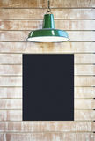 Mock up Blackboard Poster Signage Blank Frame with lighting on v royalty free stock photo