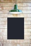 Mock up Blackboard Poster Signage Blank Frame with lighting on v Royalty Free Stock Photo