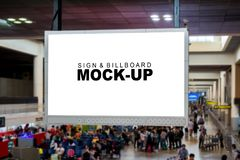 Mock up the blank advertising billboard hanging over airline pas royalty free stock photography