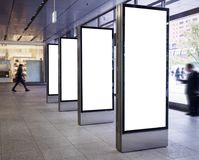 Free Mock Up Blank Banners Display In Public Building With People Stock Images - 105223004