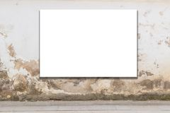 Mock up. Blank billboard, advertising, public information board on old grunge wall in the city.  Stock Images