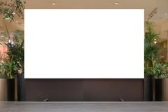 Mock up. Blank billboard, advertising stand in modern shopping mall stock image