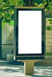 Mock up. Blank billboard outdoors, outdoor advertising, public information board stand in the city. Royalty Free Stock Photos