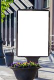 Mock up. Blank billboard outdoors, outdoor advertising, public information board stand in the city. Stock Photo