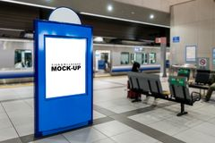 Mock up blank blueboard train station Platform stock images
