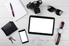 Mock up with blank digital tablet, smartphone and accessories stock photography