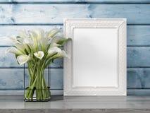 Mock up blank frame. 3d rendering. Mock up blank photo frame on the table. 3d rendering Stock Image