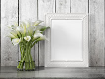 Mock up blank frame. 3d rendering. Mock up blank photo frame on the table. 3d rendering Royalty Free Stock Photos