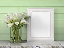 Mock up blank frame. 3d rendering Stock Photos