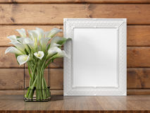 Mock up blank frame. 3d rendering. Mock up blank photo frame on the table. 3d rendering Royalty Free Stock Images