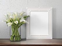 Mock up blank frame. 3d rendering. Mock up blank photo frame on the table. 3d rendering Stock Photography