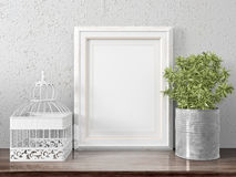 Mock up blank frame. 3d rendering. Mock up blank photo frame on the table. on the table Royalty Free Stock Images
