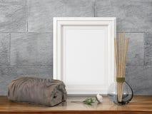 Mock up blank frame. 3d rendering. Mock up blank photo frame on the table. on the table Stock Photography