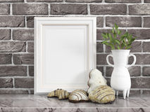 Mock up blank frame. 3d rendering. Mock up blank photo frame on the table. on the table Royalty Free Stock Image