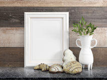 Mock up blank frame. 3d rendering. Mock up blank photo frame on the table. on the table Royalty Free Stock Photo